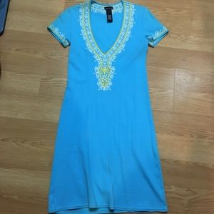 Blue Ribbed Dress with embellishments